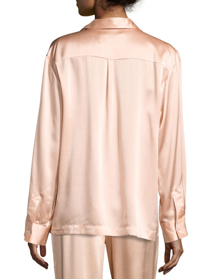 Silk-Satin Pajama Top, Light Pink