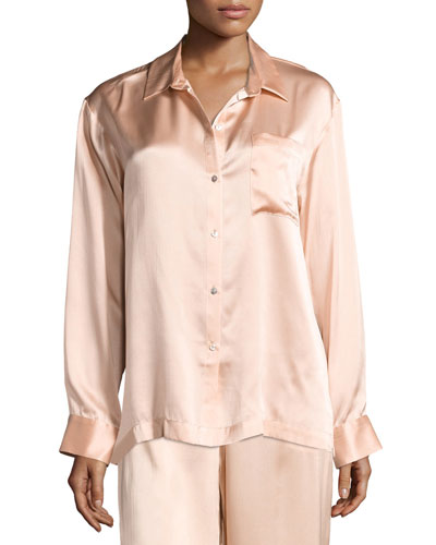 Silk-Satin Pajama Top  Light Pink