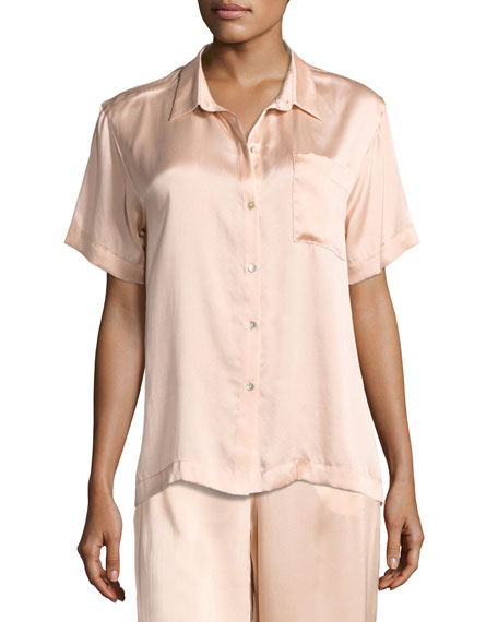 Asceno SHORT-SLEEVE SILK-SATIN PAJAMA TOP, LIGHT PINK