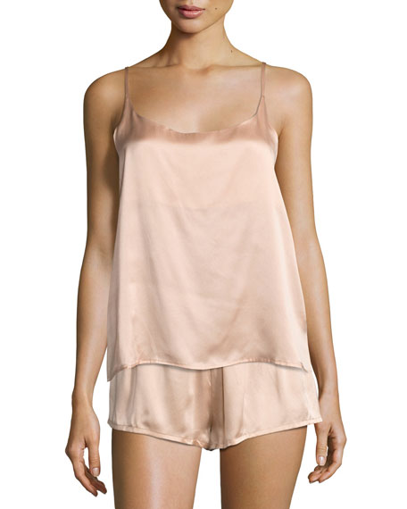 Silk-Satin Pajama Shorts, Light Pink
