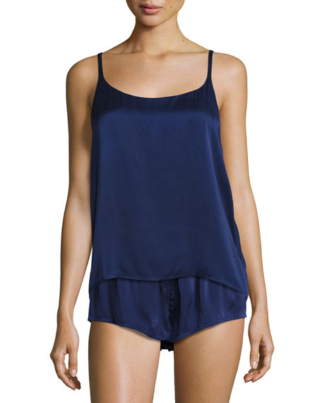 Silk-Satin Pajama Shorts, Navy