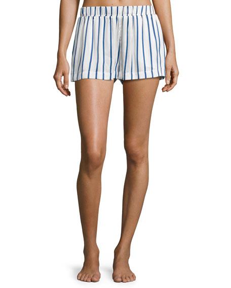 Striped Satin Pajama Shorts, Blue Pattern
