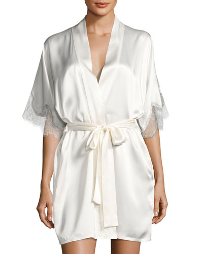 Midsummer Silk Short Robe, White