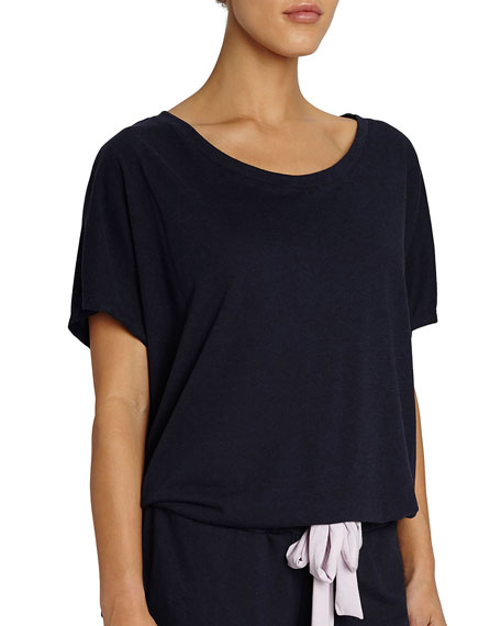 Eberjey Heather Slouchy Drawstring Lounge Tee, Dark Blue