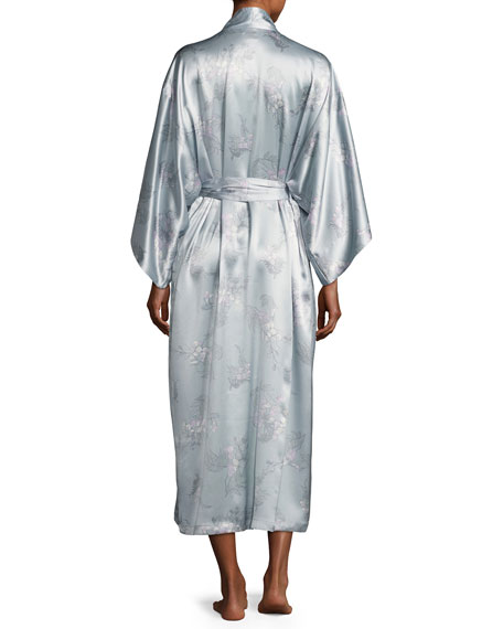 Wisteria Floral-Print Silk Long Robe, Blue Pattern
