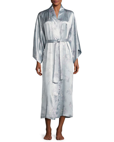 Wisteria Floral-Print Silk Long Robe, Blue Pattern