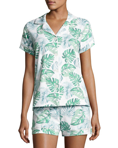 Palm Leaf-Print Short Pajama Set, Multi Pattern