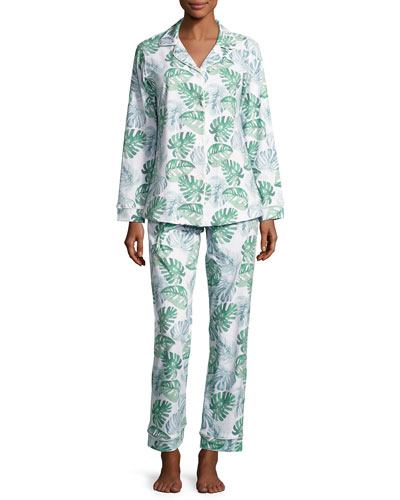Palm Leaf-Print Classic Pajama Set, Green Palm