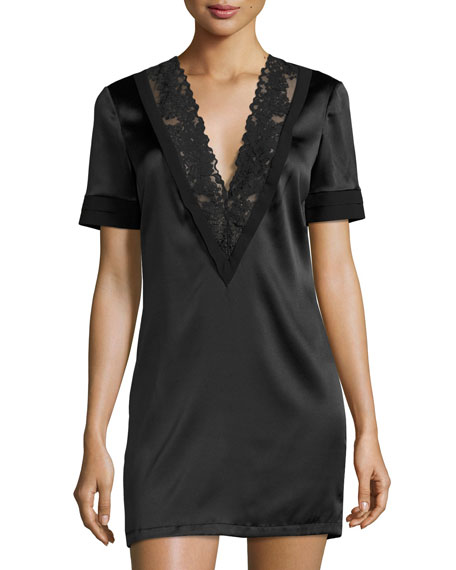 Azalea Lace-Trim Lounge Shirt