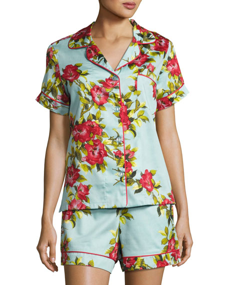 Bedhead Hibiscus Floral-print Shorty Pajama Set, Light Blue