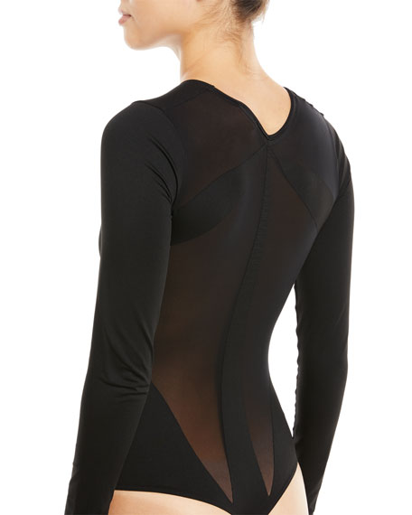 ab96a8a945 Wolford Icon Long-Sleeve Thong Bodysuit