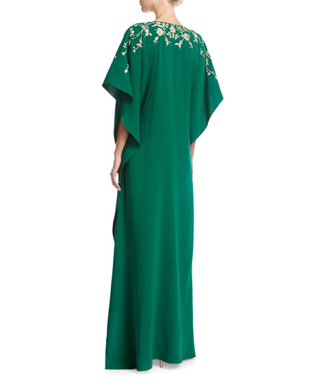 Embroidered Half-Sleeve Caftan Gown, Green
