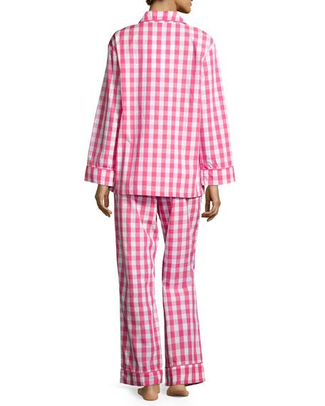 Gingham Classic Pajama Set, Hot Pink