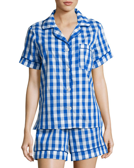 Gingham Shorty Pajama Set, Navy