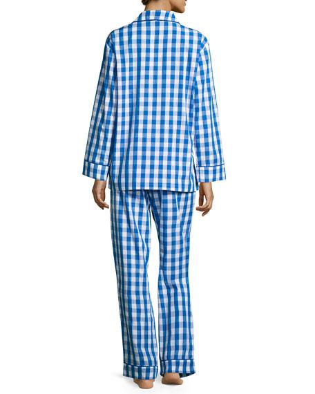 Gingham-Print Pajama Set, Navy
