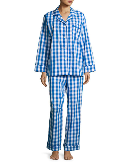 Bedhead Gingham-Print Pajama Set, Navy, Plus Size