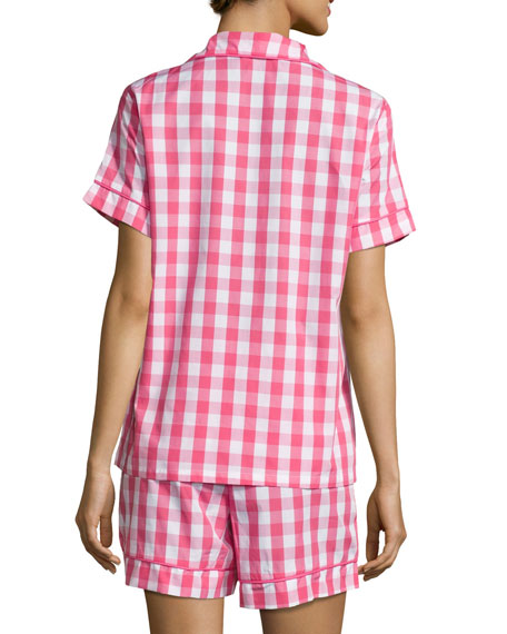 Gingham Shorty Pajama Set, Hot Pink, Plus Size