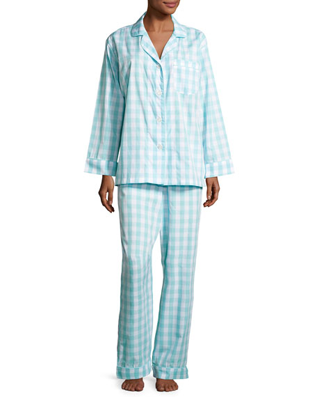Bedhead Gingham Pajama Set, Aqua, Plus Size