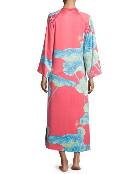 Lian Floral-Print Zip Caftan, Coral, Plus Size