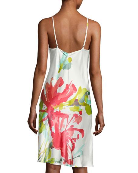 Tropics Watercolor Silk Chemise, Multicolor
