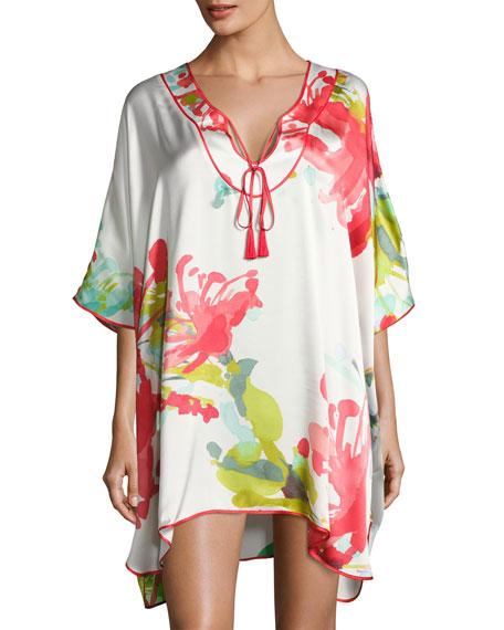Tropics Floral-Print Silk Short Caftan, Multi Pattern