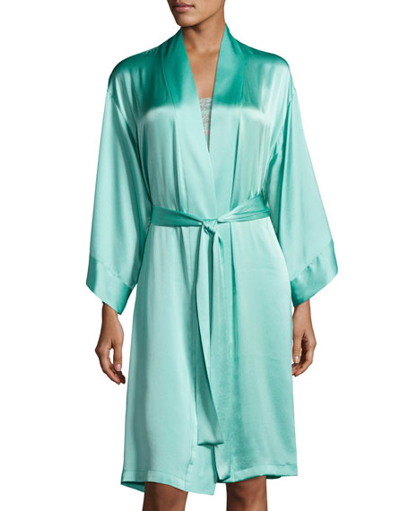 Josie Natori Essential Mid-Length Silk Robe, Medium Blue