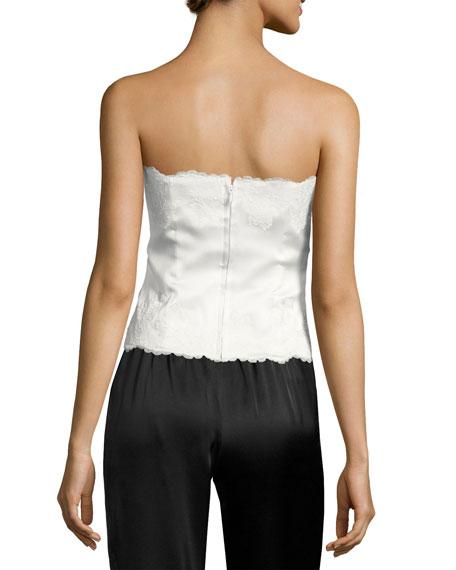 Lolita Lace-Trim Silk Charmeuse Bustier, White