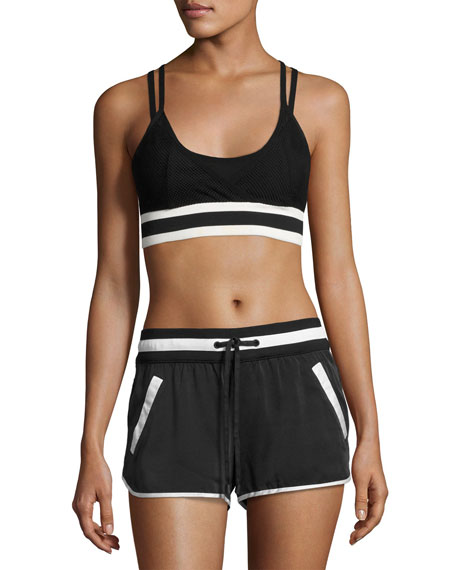 Blanc Noir Ballet Wrap Sports Bra Top, Black