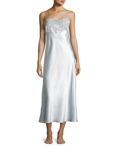 Bijoux Lace-Trim Long Gown, Light Gown