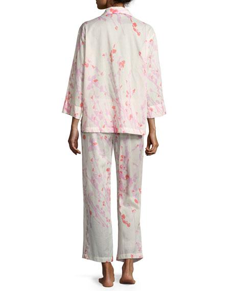 Orchid Spray Cotton Pajama Set, Cream