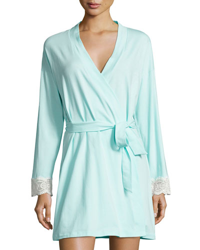 Sonia Lace-Cuff Robe, Blue/White