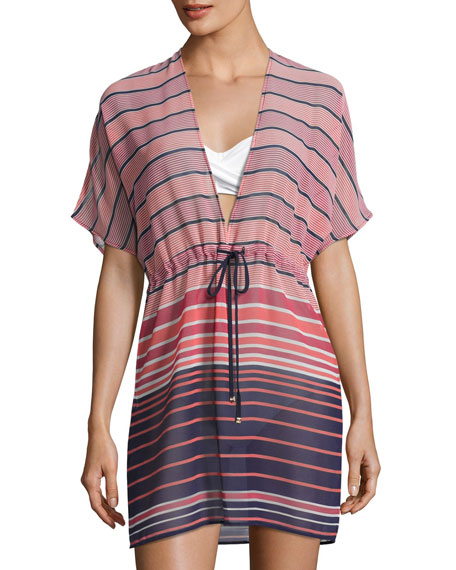 Draw-Cord V-Neck Swim Coverup Caftan, Pink