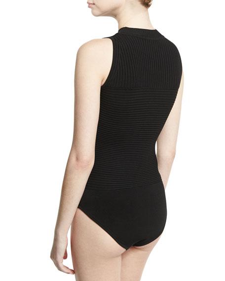 Sleeveless Ribbed Bodysuit, Black