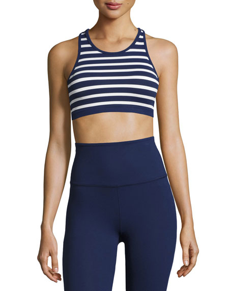 Sailing Stripe Sports Bralette, Blue/White