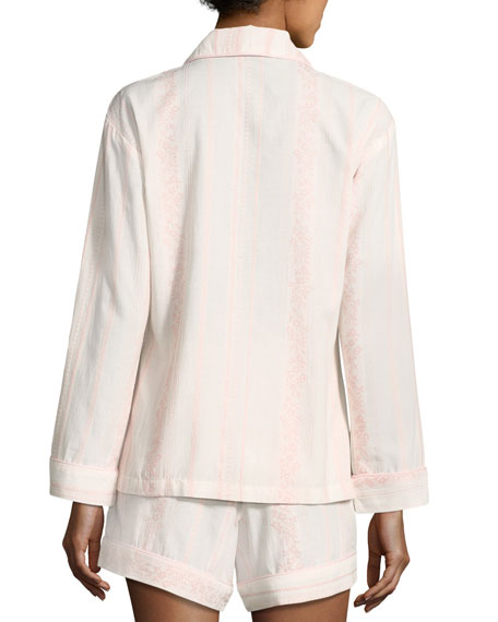 Spanish Rose Striped Long-Sleeve Shortie Pajama Set
