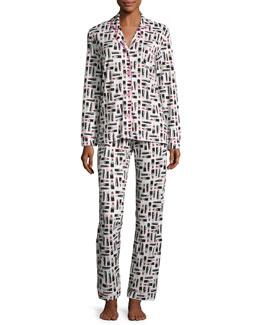 Bella Lipstick-Print Jersey Pajama Set