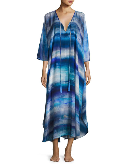 Blue Lagoon Silk Caftan, Blue Pattern