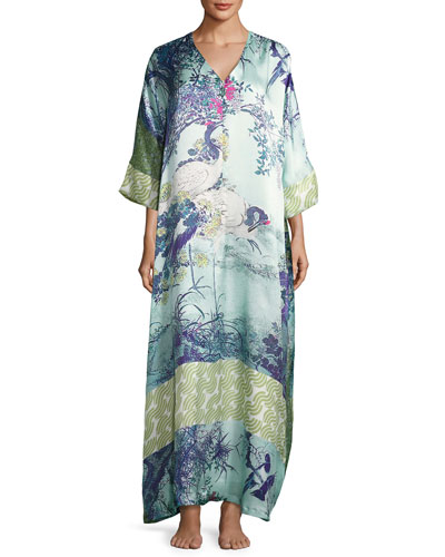 Gatsby Floral-Print Silk Caftan, Multi Pattern