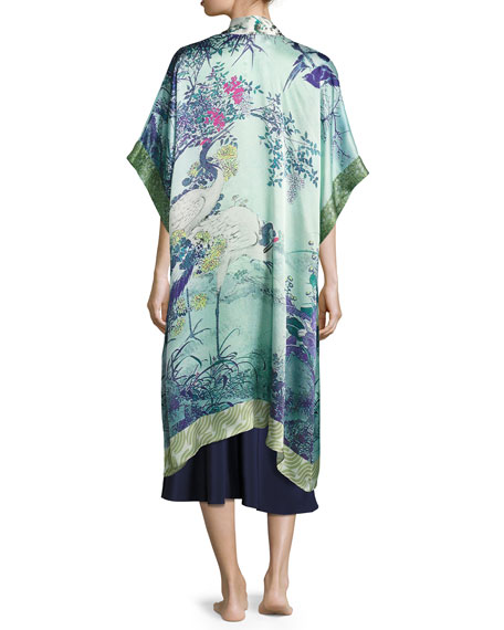 Gatsby Floral-Print Silk Long Robe, Multi Pattern