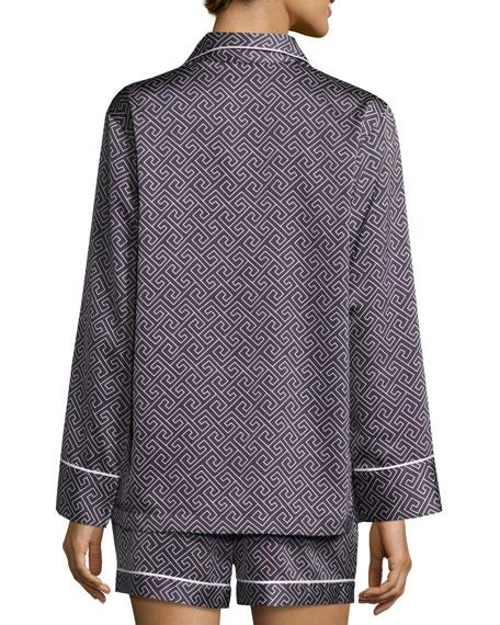 Labyrinth Satin Short Pajama Set, Dark Blue