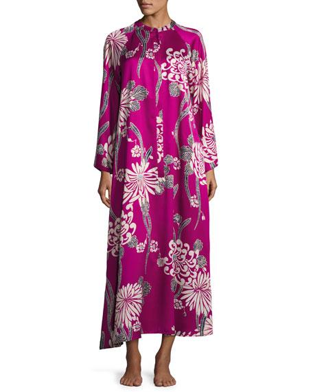 Floral-Print Zip Caftan, Purple Pattern