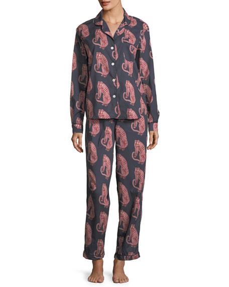 Desmond & Dempsey Tiger-Print Classic Pajama Set