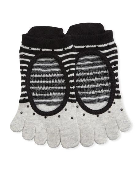 ToeSox Ballerina Shimmy Full Grip Toe Socks, Gray-Black