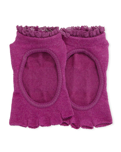 Bella Sangria Grip Half Toe Athletic Socks, Dark Pink