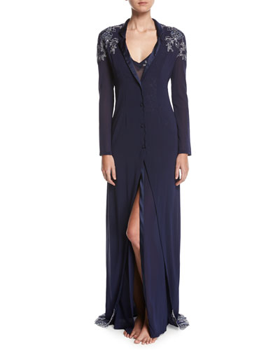 Peony Lace-Embroidered Robe, Navy