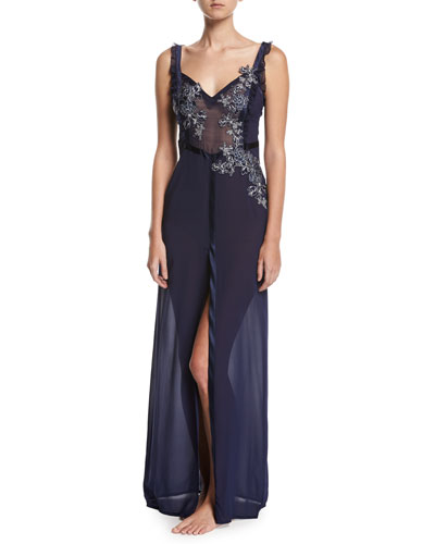 Peony Embroidered Nightgown, Navy