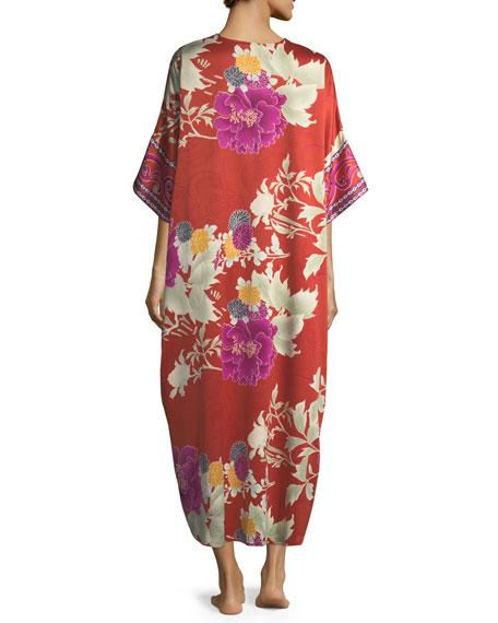 Auburn Floral Zip-Front Caftan
