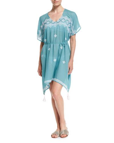 Cross-stitch Coverup Caftan Dress