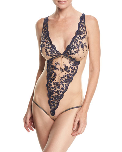 Amour Exquise Floral-Lace Bodysuit