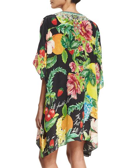 Short Lace-Up Embellished Silk Kaftan Swim Coverup